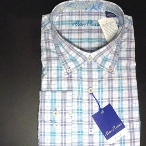 Alan Flusser Purple/Blue Plaid XL Long Sleeve New